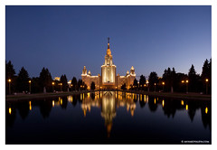 Moscow State University (Anna Kovaleva) Tags: reflection building skyline night twilight education university cityscape russia dusk moscow msu illuminated sevensisters recent stalin mgu moscowstateuniversity gettyimageswant shotwithinthelastyear