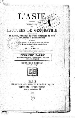 1893 L'Asie, choix de lectures de géographie... par M. L. Lanier