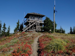 Looking back up to Shriner Peak lookout.