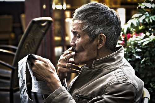 smoking old man in shanghai