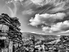 Pen-ucha'r-cwm (Paul Thickitt) Tags: blackandwhite wales architecture clouds country cloudscape hilltop clwyd clwydian denbighshire clwydianhills clwydianrange moelfamaucountrypark penucharcwm