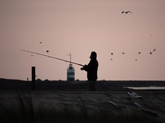 Dusk (OlleNL) Tags: light sea seagulls tower photography fisherman fotografie dusk gull gulls cigar smoking rt olle lammers