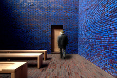 The Departure (yushimoto_02 [christian]) Tags: wood blue church horizontal architecture germany bench munich mnchen sacral seat religion entrance kirche bank illuminated indoors brickwall zen sacred architektur munchen blau departure mystic muenchen departing mystisch transcendence kapelle kawabata chappel sitzbank sitz colorimage threeobjects sakral  yasunarikawabata seatbench domenikus domenikuszentrum