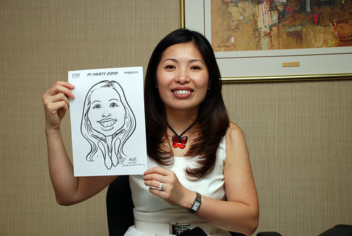 Caricature live sketching for EDB F1 Party 2010 - 2