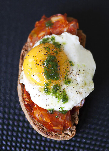 Chorizo, Egg, and Chive Oil Tartines