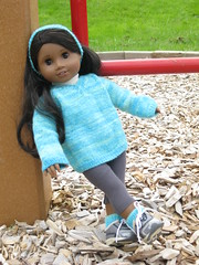 leaning back (Nethilia) Tags: sonali socks sweater knitting americangirl