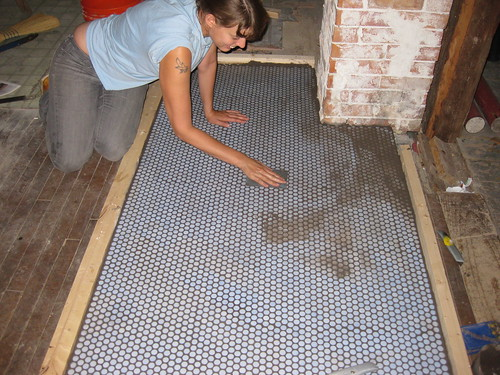 grouting the hearth