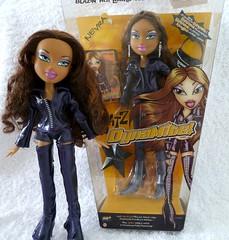 Bratz Dynamite Dolls Nevra (migglemuggle) Tags: 2005 new brown leather hair dolls purple used jacket trousers dynamite boxed bratz nevra deboxed