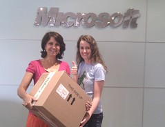 Collecting the Xbox from Charlene at Microsoft