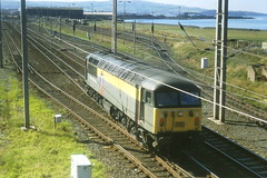 Ayr Falkland Yard - 56049 - 13-09-1996 (agcthoms) Tags: scotland trains ayr railways ayrshire railfreight class56 transrail falklandyard 56049