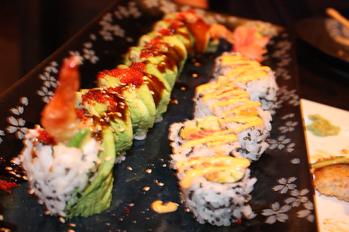 Akai Green Dragon and Spicy Tuna Rolls
