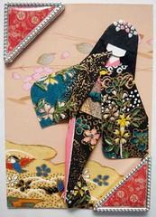 ATC425 - Natsuki (tengds) Tags: pink flowers red brown black yellow atc kimono obi papercraft japanesepaper washi ningyo handmadecard chiyogami photocorners yuzenwashi japanesepaperdoll nailsticker origamidoll tengds japanesepatternprint