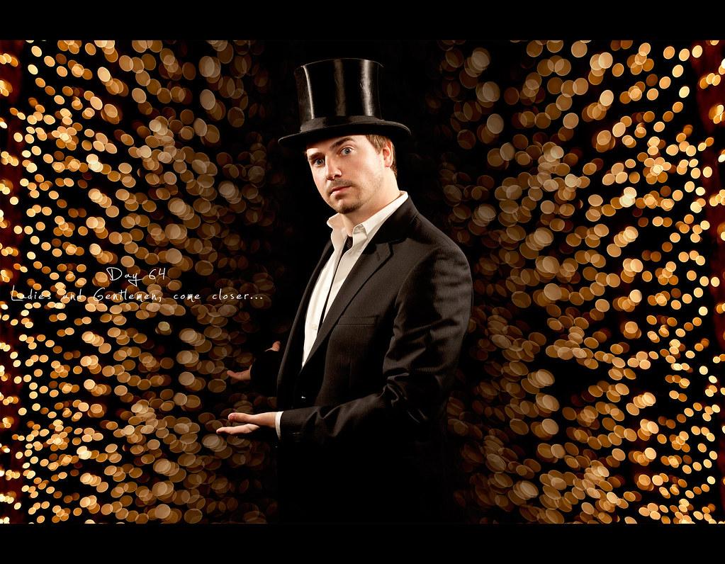 circus, project365, Project 365, Day 64, 064/365, Strobist, Self Portrait, Bokeh, ourdailychallenge, 50mm, canon 40D, Canon 50mm f1.8, carnival, top hat, zylinder, circus director, director, pathway, entrance, circus tent entrance, circus tent door, door, tent, The Imaginarium of Doctor Parnassus, Das Kabinett des Dr. Parnassus