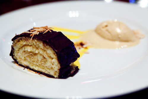 Almond Joy cake with butternut squash puree and salted caramel ice cream