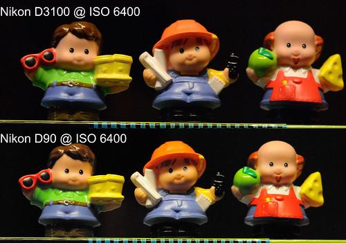 Nikon D3100 vs Nikon D90 @ ISO 6400