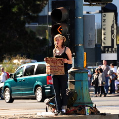 A lady thats broke ! () Tags: sf sanfrancisco street camera city woman dog girl sign calle nikon candid parking thecity streetphotography corso streetscene financialdistrict blonde bond paparazzi garota mulheres frau 70300mm mujeres fille broke mydog fleetweek sfist  saofrancisco d700 nikond700 october2010  fleetweek2010