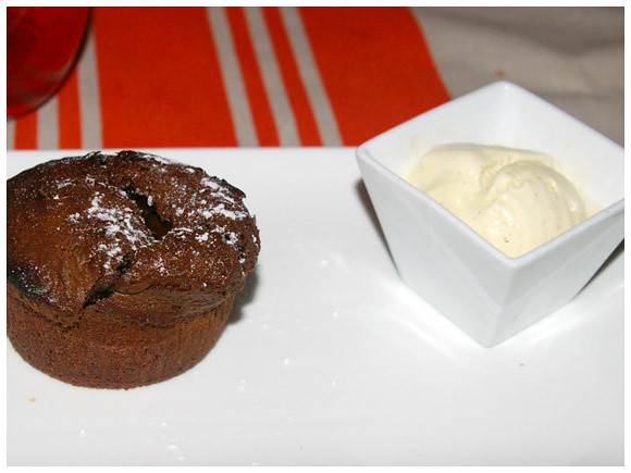 chocolate fondant with a scoop of vanilla ice cream