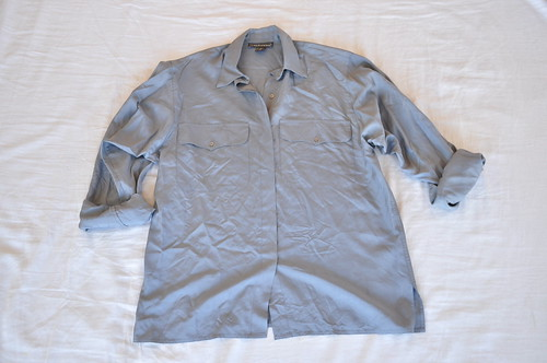 vintage oversized gray silk shirt