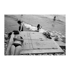 . (Emmanuel Smague) Tags: leica travel girls people blackandwhite bw lake film beach kids 35mm children photography women europe report documentary macedonia mp balkans emmanuelsmague