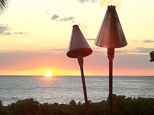 Sunset tiki torches