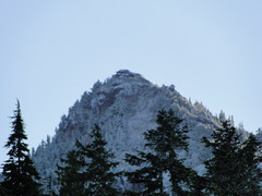 Fay peak in light white from Mowich Lake.