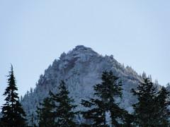 Fay peak in light white from Mowich Lake.