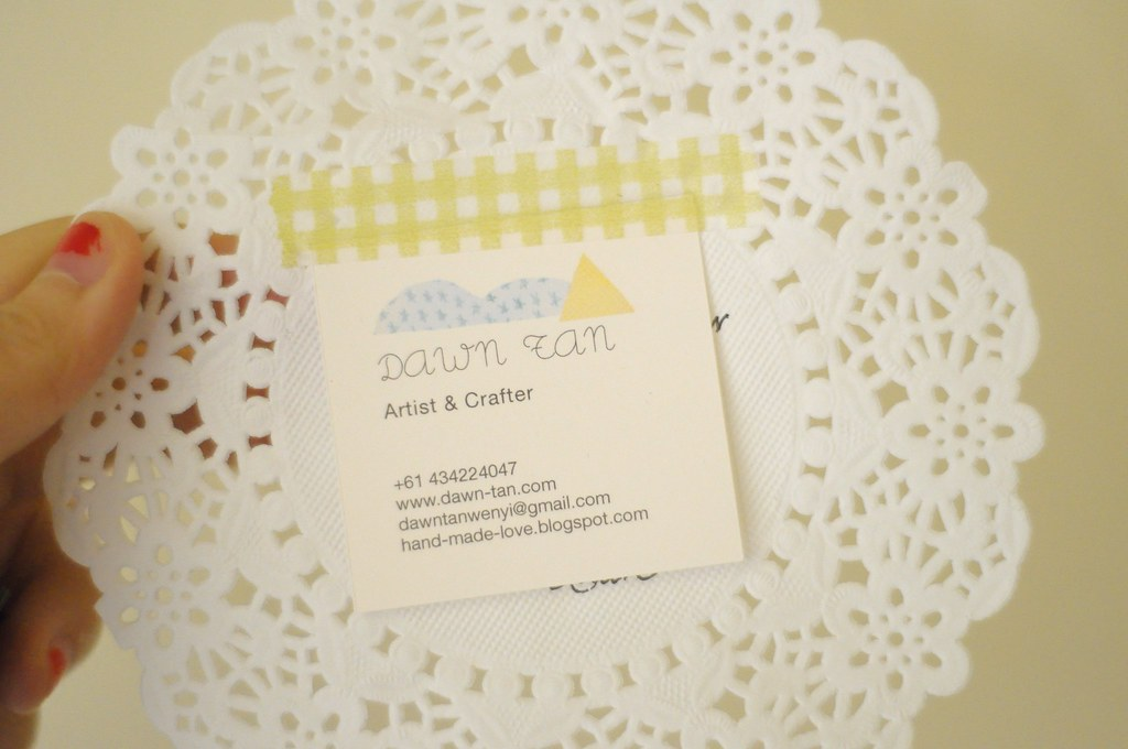 New namecard taped onto doily