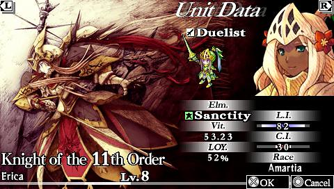 Knights in the Nightmare PSP: character screen