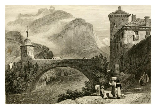 010-Puente de San Mauricio-The tourist in Switzerland and Italy-1830-Samuel Prout