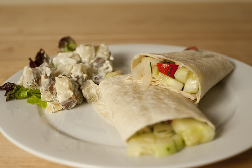 Cucumber Tomato Wrap and Potato Salad