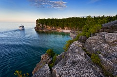 Monday Blues on The Bruce (Nathan Bergeron Photography) Tags: blue trees ontario canada colour beach water clouds landscape nationalpark nikon waves shoreline cliffs nikkor brucepeninsula tobermory nikkon nikkorlens 1635mm gnd thebrucetrail indianheadcove lachuron nikond700 hitechfilter nikon1635mm
