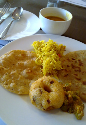 Mixture of Indian breads for breakfast