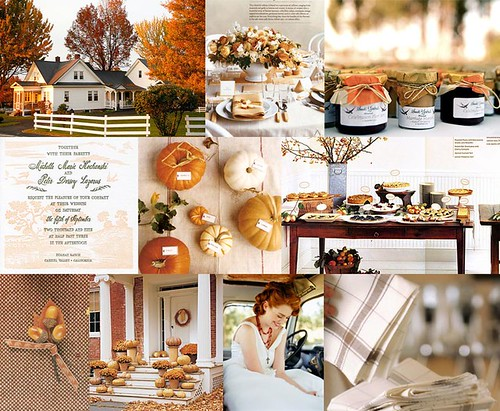 Top row from left farmhouse with autumn leaves via We Heart It centerpiece