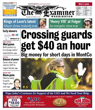 Crossing guard pay headline cover image, Washington Examiner, 10/19/2010