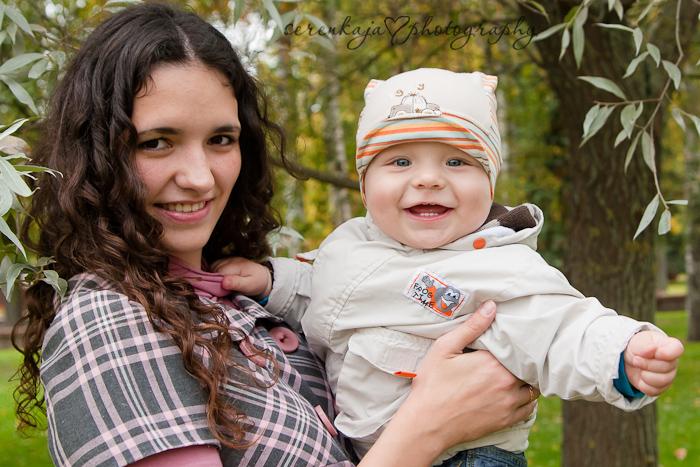 Осенняя фотосессия в парке. Андрюша с мамой