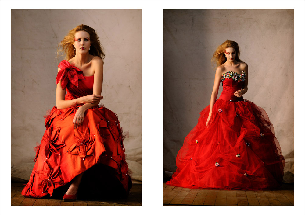 Editorial Bridal Fashion, Red Bridal Gowns, Catherine Colubriale Couture, Sydney Australia