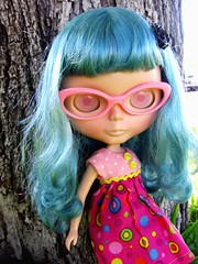 Blue and pink and dotties.