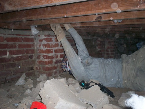 me putting the insulation up