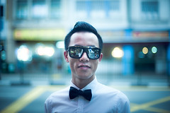 Christophe Wong (TGKW) Tags: road street portrait people man sunglasses fashion singapore bokeh designer chinese tie bow reflective wong christophe 9524