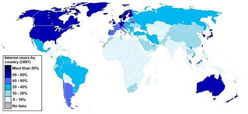 Mapa rozpowrzechnienia internetu na świecie