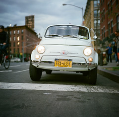 Fiat in Manhattan (pexy) Tags: city nyc newyorkcity newyork classic film car buildings mediumformat photography fiat manhattan ishootfilm meatpackingdistrict rolleicordvb pexy authordavidpexton