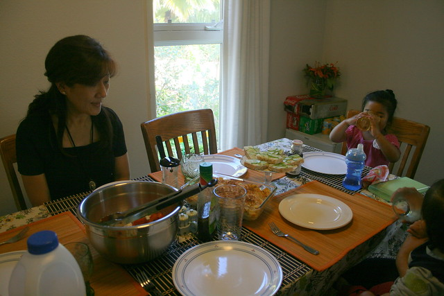 my beautiful mom and raine, head of the table