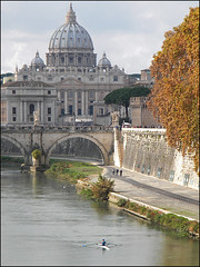 St. Peter churc - Postcard from Rome, near Vatican City (Re Julien) Tags: city bridge vatican rome roma church river basilica fiume ponte vaticano chiesa cupola dome tiber tevere lungotevere sanpietro stpeter