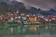 Lago di Barcis (wittywd40) Tags: autumn trees italy lake reflection fall rain fog buildings lago town hdr 2010 barcis lagodibarcis wittywd40 hdrtist