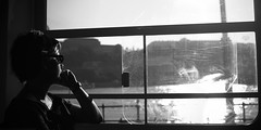 Pense pour le Danube (pas le matin) Tags: bridge light blackandwhite bw sun window girl sunglasses soleil hungary noiretblanc lumire budapest dream tram nb dreaming pont inside duna fille tramway fentre danube intrieur hungarian magyarorszag lunettesdesoleil magyarorszg villamos rve jeunefille hongrie rver hongrois