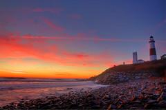 Montauk Point Sunrise (Cliff-Captures) Tags: park morning november lighthouse ny yellow sunrise canon point island rebel suffolk long state montauk hdr xsi tamron1750