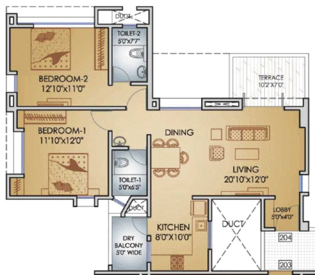 Teerth Towers Baner Sus 2 BHK Flat 776 sq.ft. Carpet + DryBalcony + Terrace