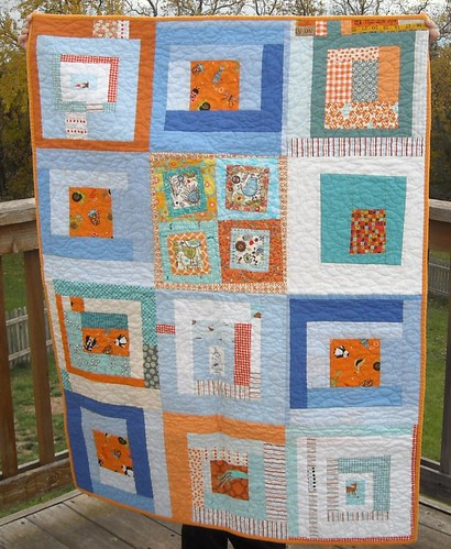 blue/orange charity quilt