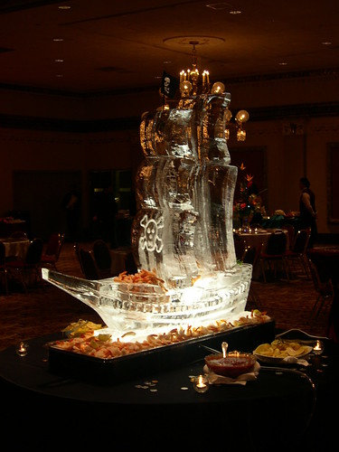 Pirate Ship with Seafood ice sculpture