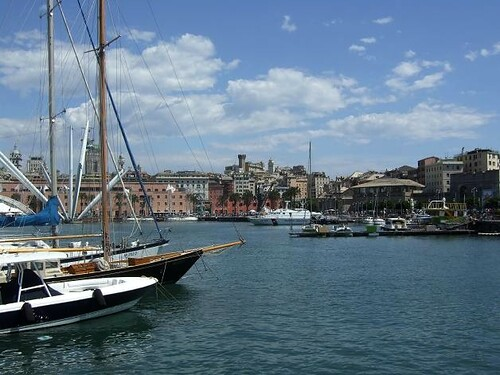 view on yachts and sea in Genoa